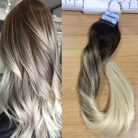 extensiones para cabello rubio y negro