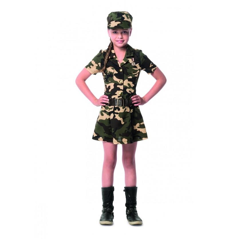 maquilaje y disfraz militar para niña