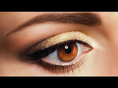 maquillaje dorado para ojos de color neutro