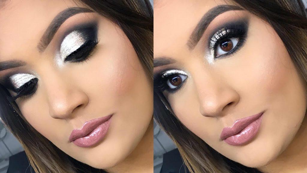 maquillaje plateado y negro perfecto