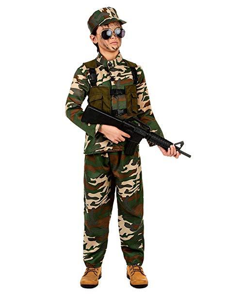 niño militar maquillado