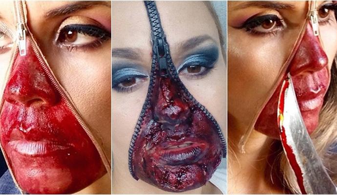 maquillaje con cremallera para halloween paso a paso