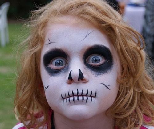maquillaje de esqueleto para niña sencillo