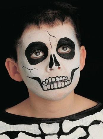 maquillaje de esqueleto para niños fácil