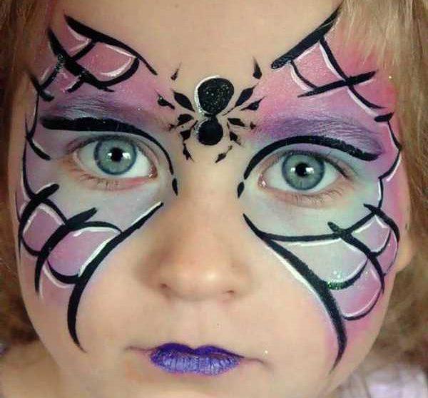 maquillaje de halloween para niña de telaraña
