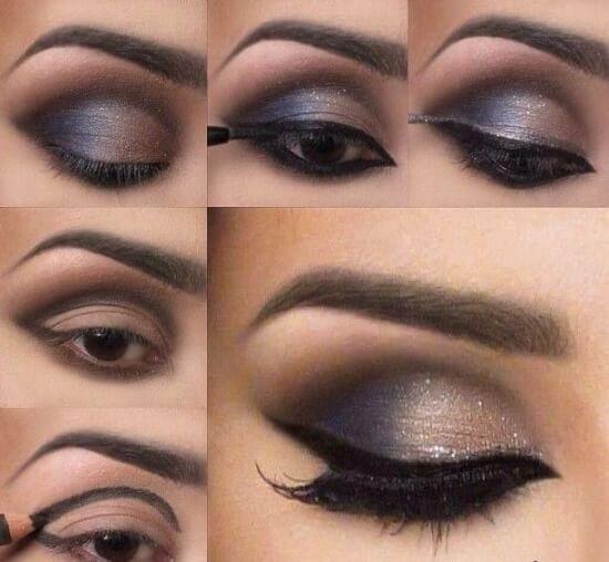 maquillaje de ojos negros, sombra de dos colores