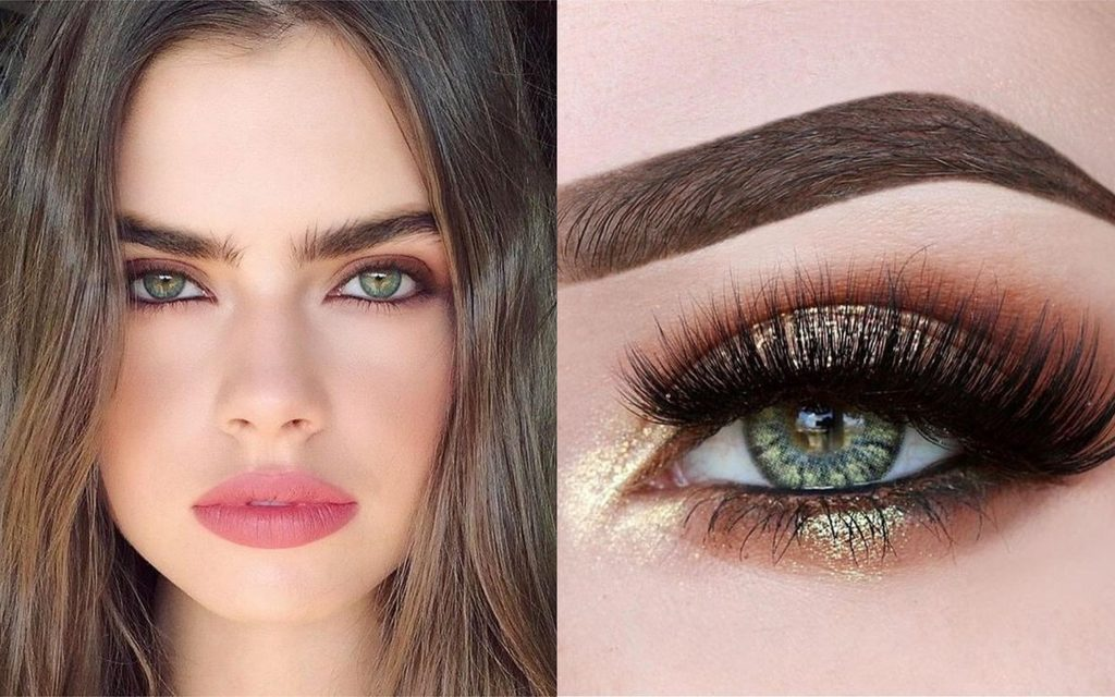 maquillaje verde brilloso para ojos verdes