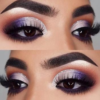 maquillaje púrpura para ojos brilloso