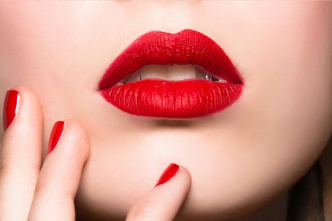 labios rojos para maquillaje de noche