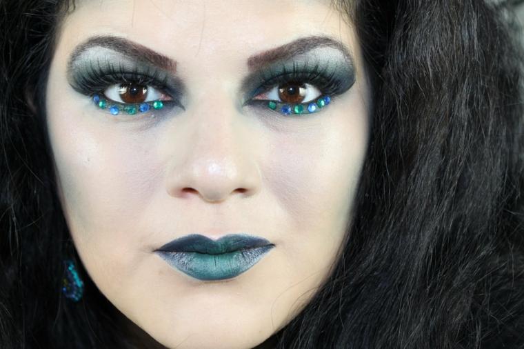 maquillaje brillante de bruja para halloween