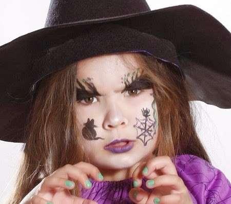 maquillaje de bruja para niña en halloween sencillo