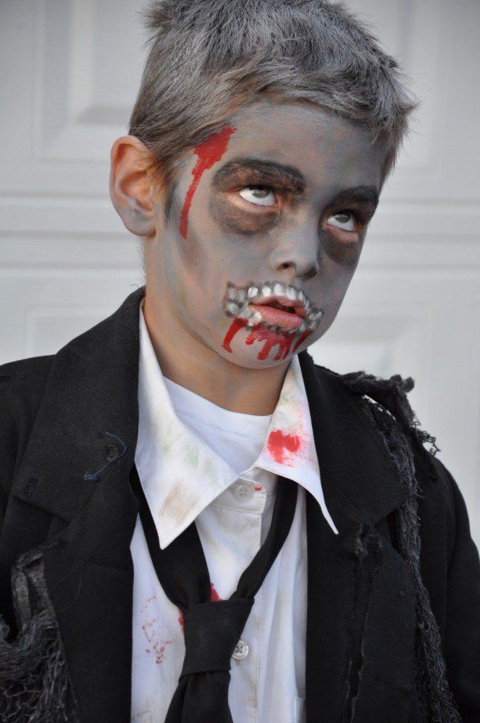maquillaje niño-zombie sencillo