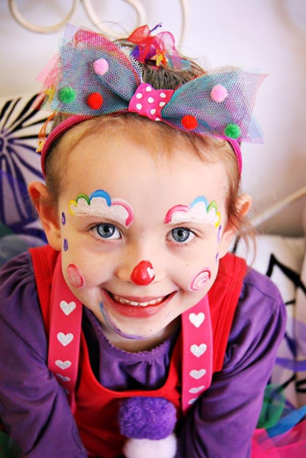 maquillaje de payaso sencillo para niños