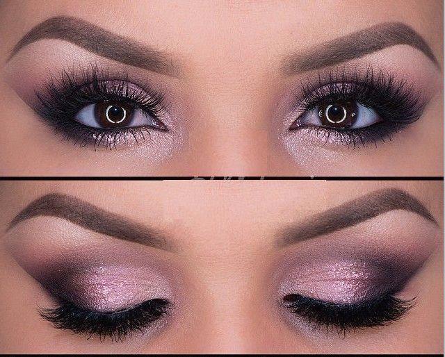 maquillaje rosa para ojos de noche