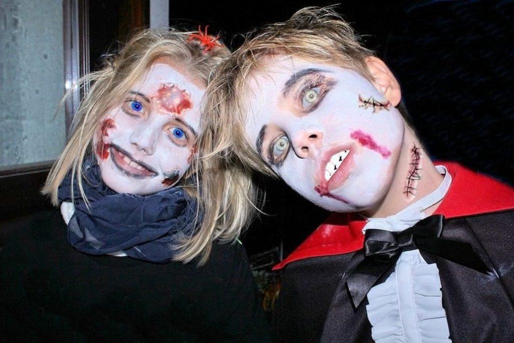 maquillaje de zombie para niños sencillo