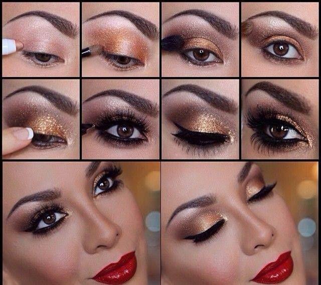 como maquillar tus ojos para vestido rojo