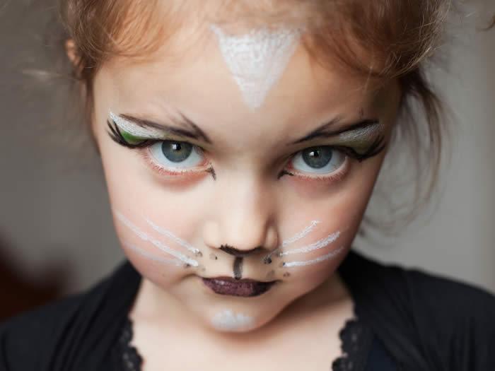 maquillaje gata blanca niña