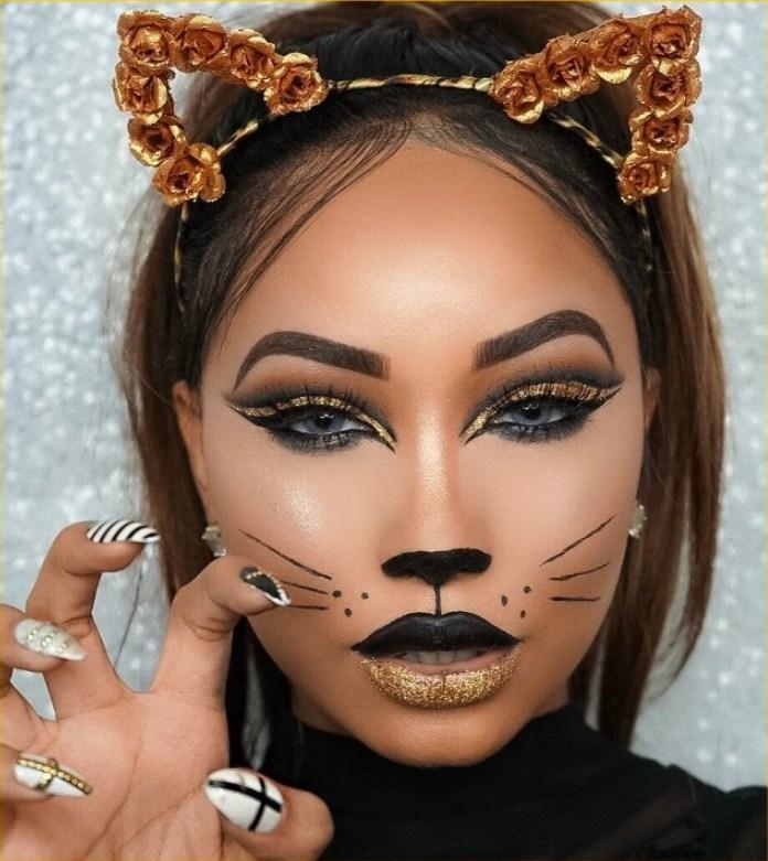 maquillaje gato negro hermoso