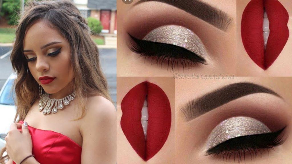 labios rojos y sombra plateada para vestido rojo