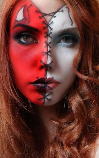 maquillaje angel-demonio