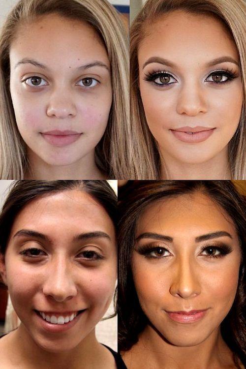 maquillaje con aerógrafo antes y después