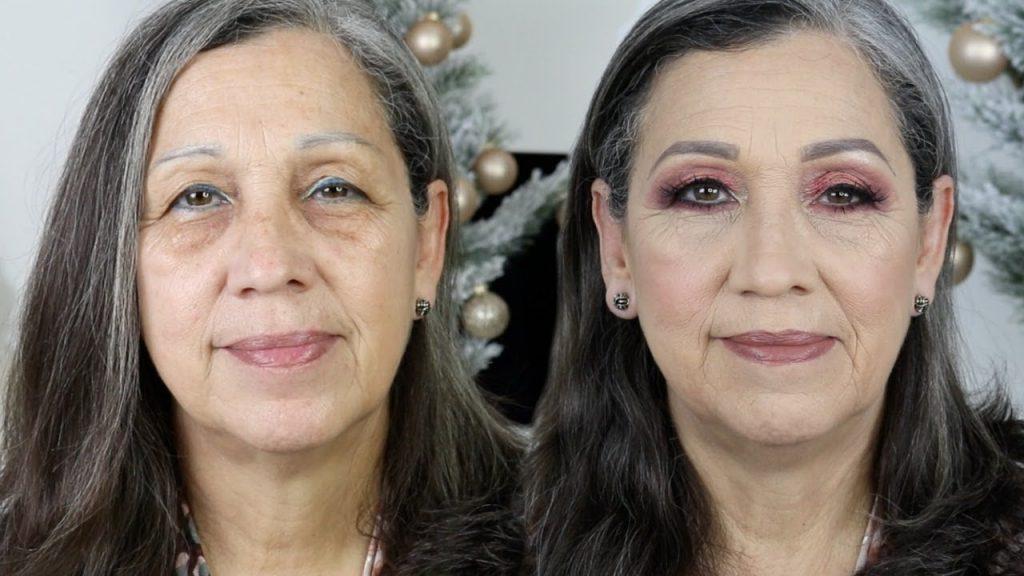 maquillaje para piel madura antes y después