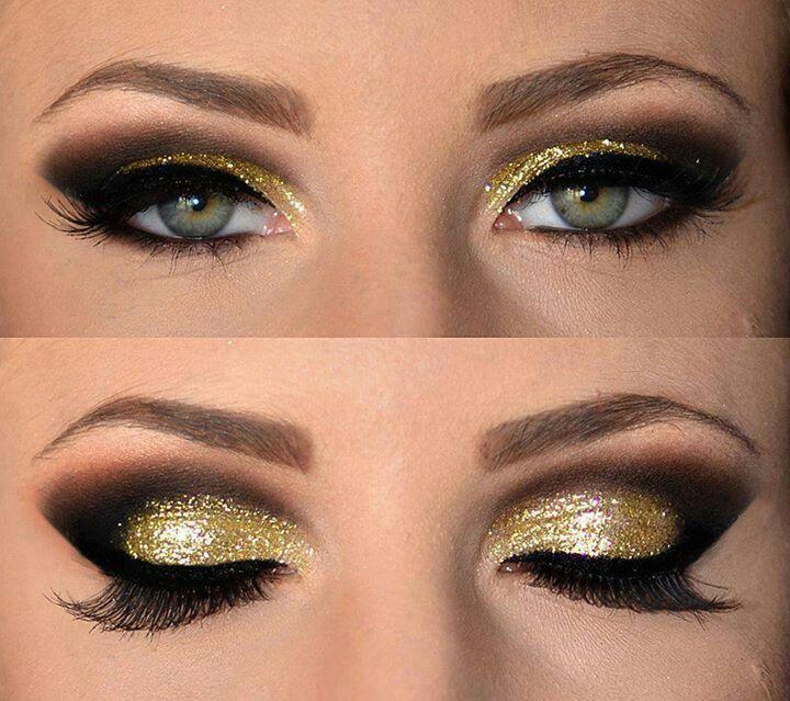 dorado con negro para ojos