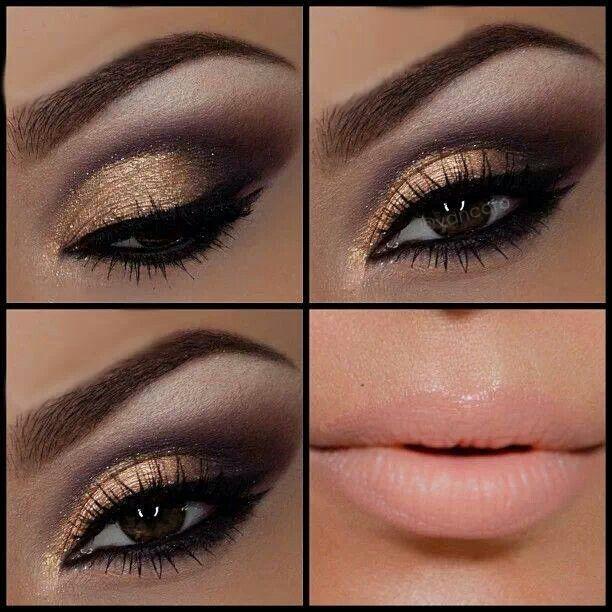 maquillaje dorado con café