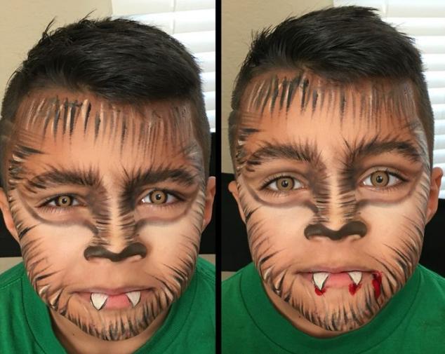 maquillaje lobo niño