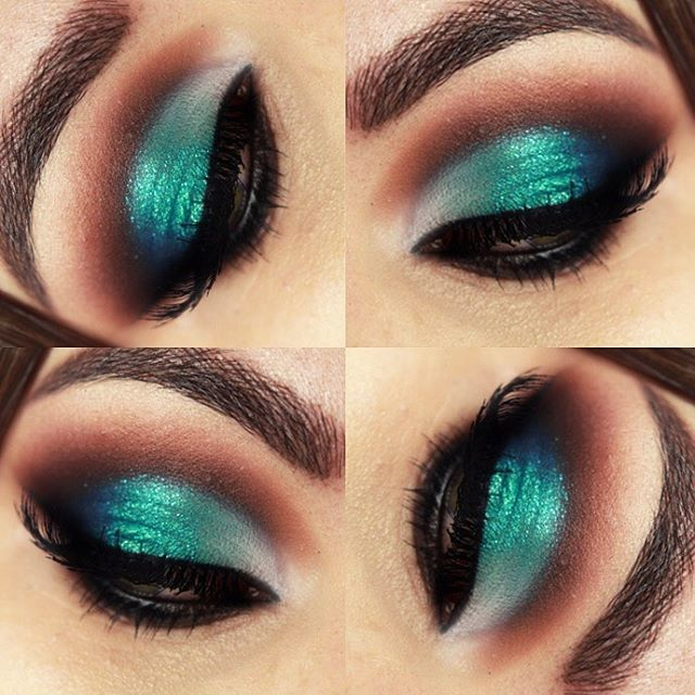 maquillaje verde agua para vestido